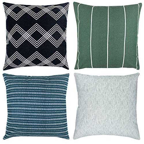Woven Nook Decorative Throw Pillow Covers ONLY for Couch, Sofa, or Bed Set of 4 18 x 18 inch Modern Quality Design 100% Cotton Green Black White Blue Kennedy Set