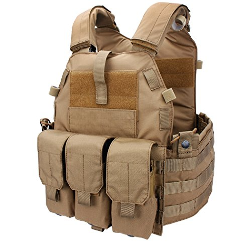 Coyote Lightweight Vest - IDOGEAR EmersonGear Tactical Vest Molle Combat Airsoft camouflage Paintball Vest CS Outdoor Modular Chest Set Adjustable Lightweight (Coyote Brown)