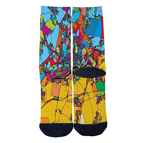 Mens Womens Casual Frankfurt am Main Area Colorful Map Socks Crazy Custom Socks Creative Personality Crew Socks Black