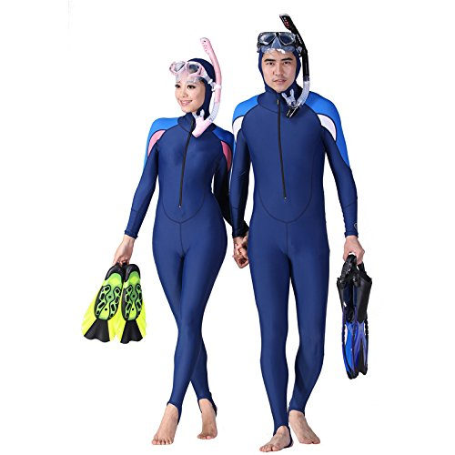 elegantstunning Long-Sleeved Conjoined Sunscreen Snorkeling Suit Hooded Diving Sunscreen Clothing Jellyfish Suit Siamese Swimwear: XL, Women Models - Hooded - No Chest Pad
