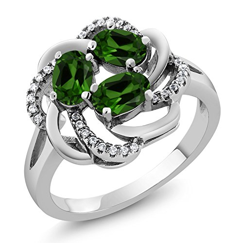 Gem Stone King Green Chrome Diopside 925 Sterling Silver Women's Ring 1.72 Ct Oval (Size 6) ()