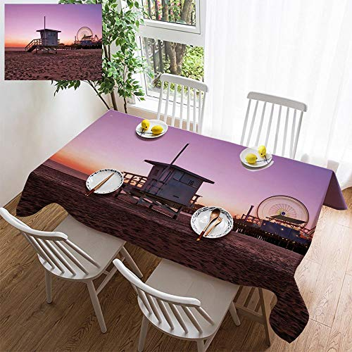 HOOMORE Simple Color Cotton Linen Tablecloth,Washable, Beach Life Guard hut Decorating Restaurant - Kitchen School Coffee Shop Rectangular 54×39in