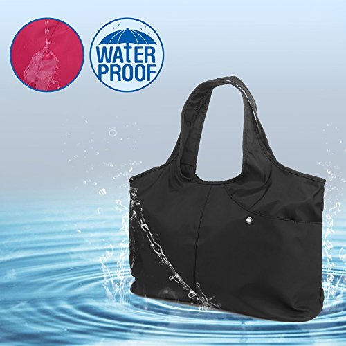 ZOOEASS Women Fashion Large Tote Shoulder Handbag Waterproof Tote Bag Multi-function Nylon Travel Shoulder(Black) by ZOOEASS (Image #6)