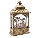 Eldnacele 12'' Musical Snow Globe Lantern Lighted Swirling Singing Water Glittering Lantern, Snow Globes Music for Adults and Kids Christmas Nativity Decoration in Bronze Color Finish, Palm Tree
