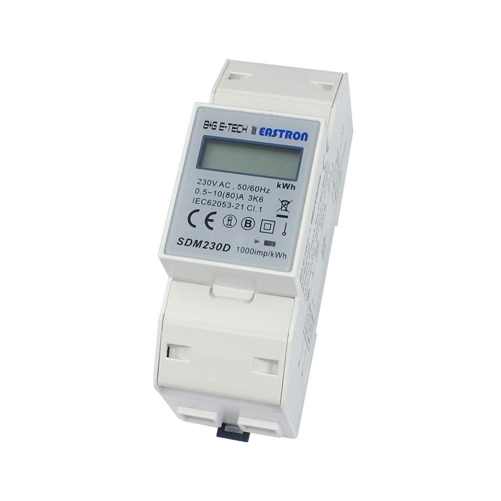B+G E-Tech SDM230D - 1 Phasen Wechselstromzä hler Stromzä hler fü r DIN Hutschiene mit LCD Anzeige