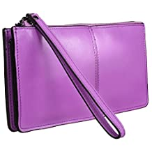 Heshe® Women Top Zipper Arround Clutch Long Wallet Everning Purse Case Card Holder Money Clip Handbag with Wrist Strap