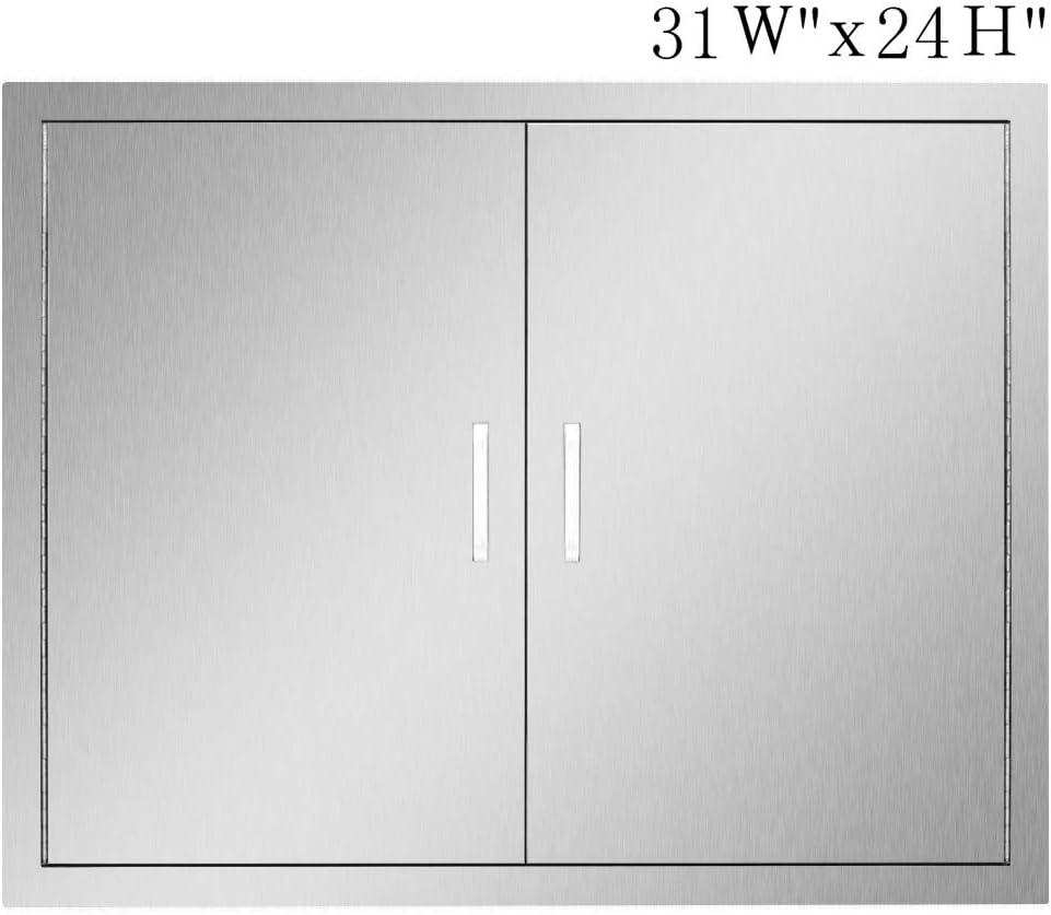Seeutek Outdoor Kitchen Doors BBQ Access Door 31W x 24H Inch - Stainless Steel Double Wall Construction Vertical Door for Outdoor Kitchen Grilling Station or Commercial BBQ Island