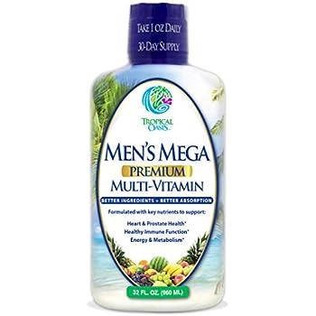 Men's Mega Premium Liquid Multivitamin w/ CoQ10, PABA + 100 additional Vitamins, Minerals, & Amino Acids to support muscle, heart & brain functions* Max Absorption! - 32 Serv, 32oz