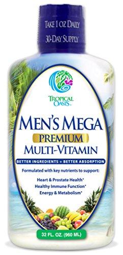 Men's Mega Premium Liquid Multivitamin w/CoQ10, Paba + 100 Additional Vitamins, Minerals, Amino Acids to Support Muscle, Heart & Brain Functions* Max Absorption! - 32 Serv, 32oz (Liquid Multivitamins)