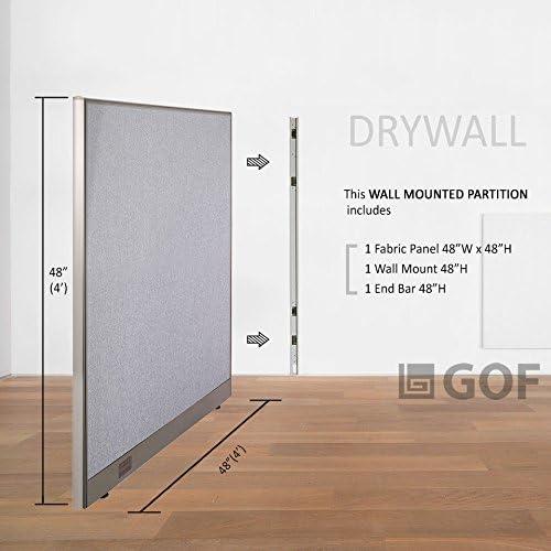 GOF montado en la pared oficina partición, 48 W x 48h/Panel de oficina, habitación separador, color gris 48W x 48H: Amazon.es: Oficina y papelería