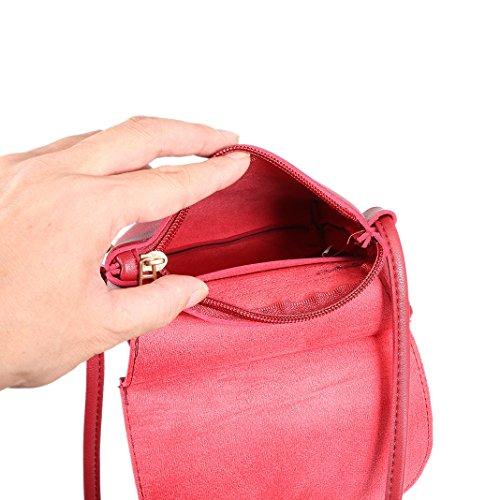 rosa Y Bolsos Rojo De Hombro Bandoleras Shoppers Mano Del Schleife Et Mensajero Portatiles Piel Retro Mujer Bolsas Bandolera Piel Organizadores Cuero Hombre r8xrBtf