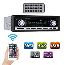 GHB Bluetooth Car Stereo Audio 1 DIN In Dash FM Receiver with MP3 Radio Player and Remote Control