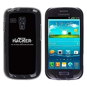 Caucho caso de Shell duro de la cubierta de accesorios de protección BY RAYDREAMMM - Samsung Galaxy S3 MINI NOT REGULAR! I8190 I8190N - Hacker Black White Text Computer Hacking