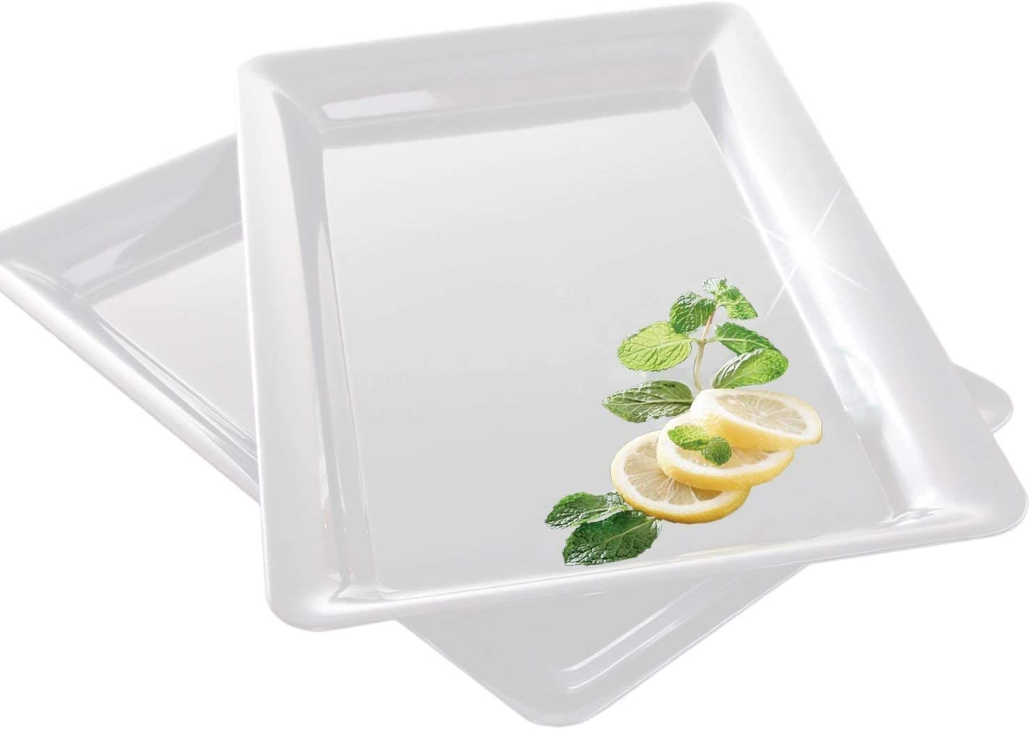 "4 Rectangle White Plastic Trays Heavy Duty Plastic Serving Tray 12"" x 18"" Serving Platters Food Tray Decorative Serving Trays Wedding Platter Party Trays Great Disposable Serving Party Platters White"