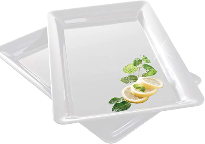 10 inch long rectangle shape serving tray made of plastic white Y2Z4