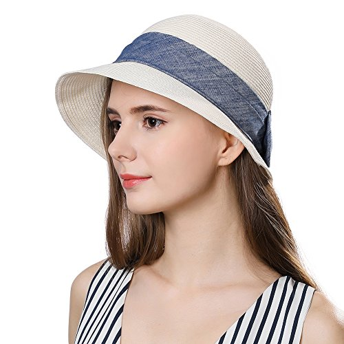 (Packable Womens Straw Sun SPF Hat Fedora Summer Beach Short Brim Panama Cloche White 56-58cm)