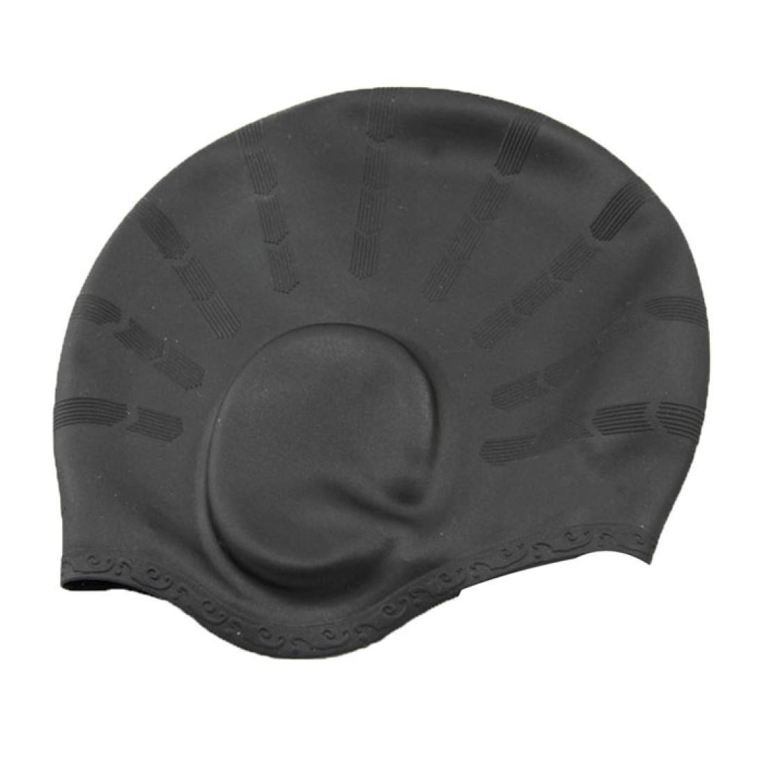 Ama ( TM )メンズレディース大人用シリコン防水Swim Cap Covers耳水泳Bathing帽子  ブラック B01KZ1AAYE