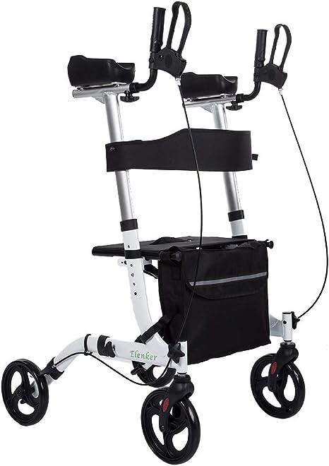 ELENKER Upright Walker, Stand Up Folding Rollator Walker Back Erect Rolling Mobility Walking Aid with Backrest Seat Padded Armrests for Seniors and ...
