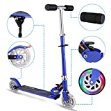 Hikole Kids Kick Scooter Two-Wheeled Foldable Adjustable-Height Mini Aluminum Alloy Push Scooter with 2 LED Light Up Wheels for Children Age from 4 to 10 (Blue)