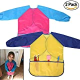 M-jump 2 Pack Kids Art Smocks, Children Waterproof Artist Painting Aprons Long Sleeve with 3 Pockets for Age 2-6 Years (set of 2)