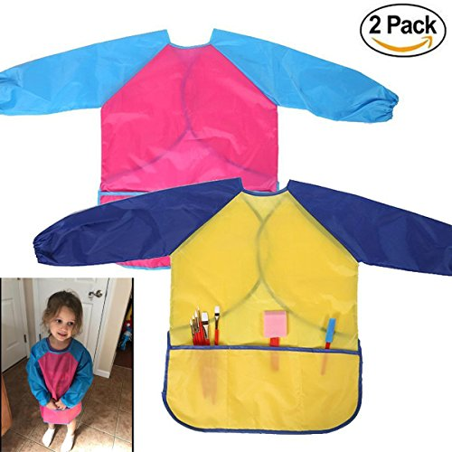 Full Smock - M-jump 2 Pack Kids Art Smocks, Children Waterproof Artist Painting Aprons Long Sleeve with 3 Pockets for Age 2-6 Years (set of 2)
