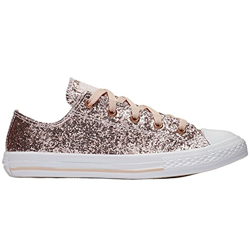 Converse Youth Chuck Taylor All Star Ox Dusk Pink Blush Gold Synthetic Trainers 37.5 EU (Flat Shoes Glittery)