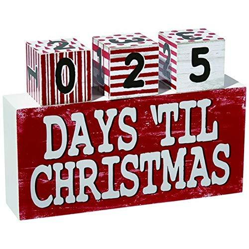 Holiday Countdown Days 'Til Christmas Table Block Calendario Sign, 9 1/2'