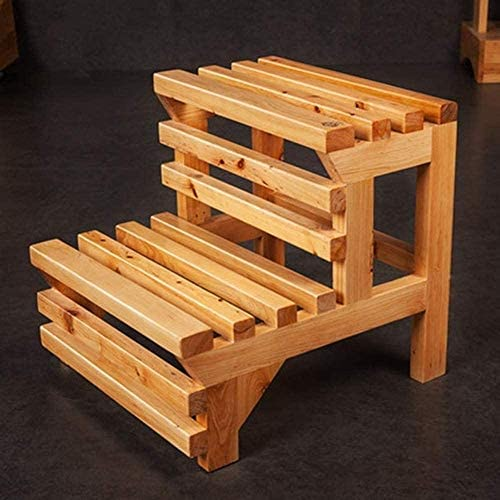 Dirty hamper Step stool Ladder Stool Ladders Non-slip Bathtub Stool Ladder Stool 2 Steps Wood Foot Stools Shoe Bench Flower Rack folding chairs