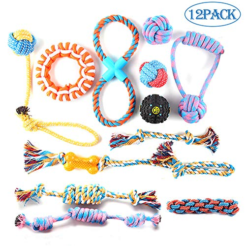PetBemo Dog Rope Toy Dog - 12 Pack Pet Chew Toys Set for Medium to Large Dogs & Puppy, Puppy Teething Toys for Aggressive Chewers Assortment - Washable Cotton Rope for Dogs
