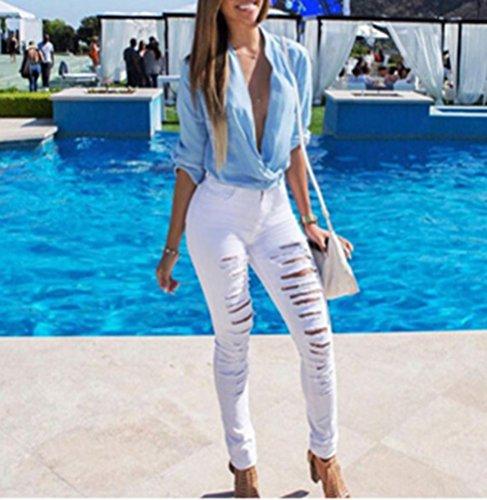 Slim Donna Vita Pantaloni Bianca Alta Jeans A Strappati Skinny Legging Fit qr0rE4