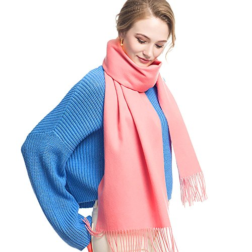 Cashmere Wool Scarf,Large Soft Women Men Scarves Winter Warm Shawl Gift Package (Pink)