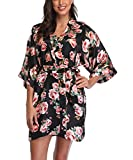 Women's Satin Floral Kimono Robe Short Bridesmaid Bathrobe for Wedding Party,Black S