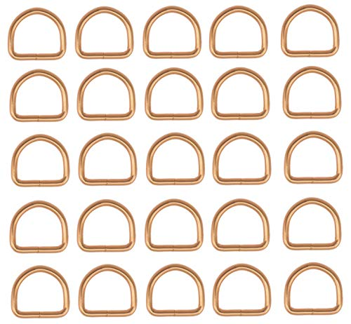 Rose Gold 5/8 inch D Ring - Welded Loose Hardware for Repair, Craft, or Manufacture of Purses, Luggage, Jewelry, or Dog Collars -Package of 25