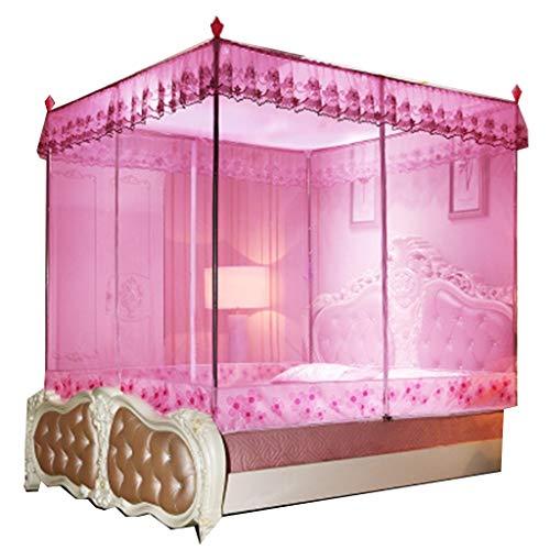 Mosquito Net Three-Door, Stainless Steel Bold Heightening Bracket (Color : Pink)