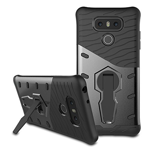 Price comparison product image LG G6 Case, Remex Heavy Duty Shockproof Dual Layer Hybrid Armor Defender Full Body Protective Cover with 360 Degree Rotating Kickstand for LG G6 (Black)