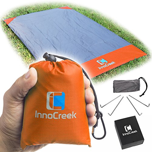 Waterproof Pocket Blanket / Picnic Blanket, Sand Proof Beach Blanket, Large 75'' x 48'' with 4 Stake Anchors - Lightweight Compact Outdoor Mat Ground Sheet Tarp for Camping Travel (Orange / Grey) 1 Light Outdoor Compact