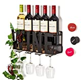 Soduku Wall Mounted Metal Wine Rack 4 Long Stem Glass Holder & Wine Cork Storage Wine