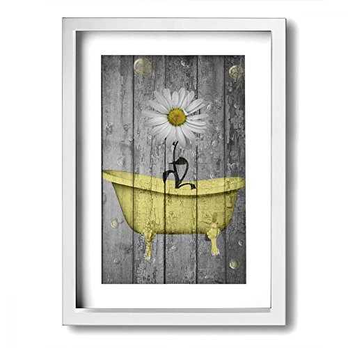 Frame Bath - Ale-art Rustic Picture Frame Bathroom Wall Art Daisy Flower Bubbles Yellow Gray Vintage Rustic Bath Wall Art Ready to Hang for Wall Decor