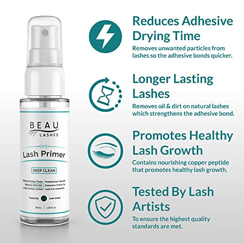 Lash Primer For Eyelash Extensions (40ml) – To Cleanse Lashes, Promote Healthy Lash Growth & Lengthen the Life Of…