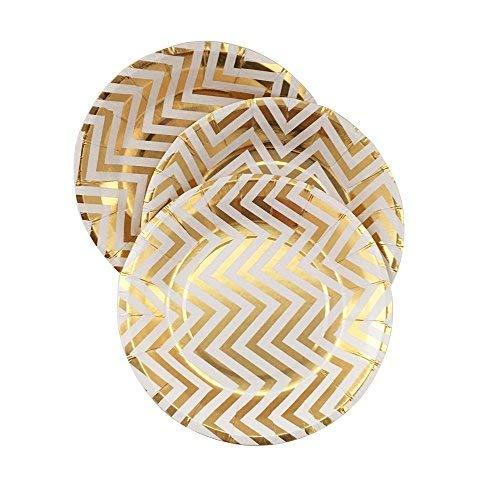 YouMeBest Disposable Paper Plates Foil Gold Chevron Round Paper Plates 9-Inch 32pcs ()