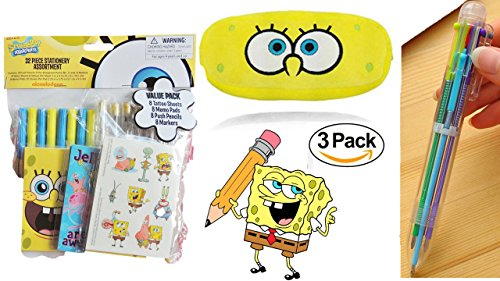 Pencil Pouch - SpongeBob Pencil Case - Back To School Plush Pouch Loaded With Fun Stuff - Six Color Pen + 8 Push Pencils + 8 Markers + 8 Memo (Back To School Stuff)