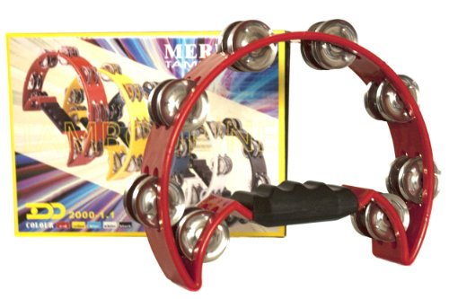 Pro Half Moon Tambourine - Double Row Cutaway 16 Sets of Jingles - Red