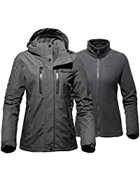 Women's 3-in-1 Ski Jacket - Winter Jacket Set with Fleece...