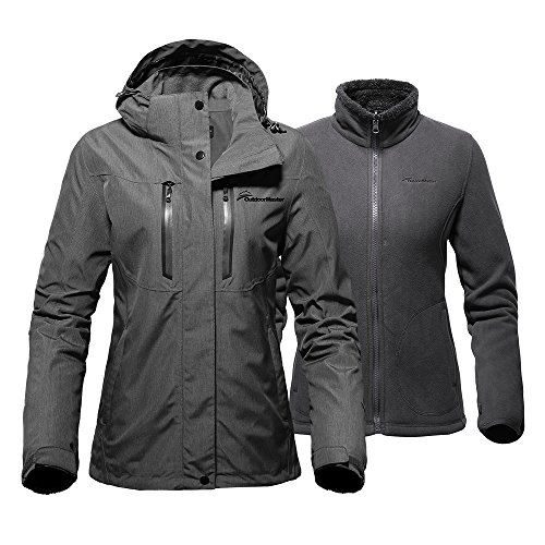 OutdoorMaster Women's 3-in-1 Ski Jacket - Winter Jacket Set with Fleece Liner Jacket & Hooded Waterproof Shell - for Women ()