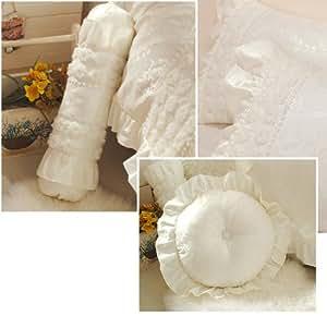 Cream Lace Throw Pillows : Amazon.com: DIAIDI Lace 3D Flower Princess Throw Pillows Cream White Throw Pillow Decorative ...