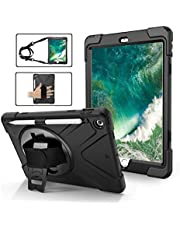 iPad 5th/6th Generation Case,Shockproof, Drop proof, 360 Degree Rotation Kickstand, Hand Strap,Shoulder Strip to Hang in Car Seat.Built-in Screen Protector for New iPad 9.7 2018/2017 Case Black