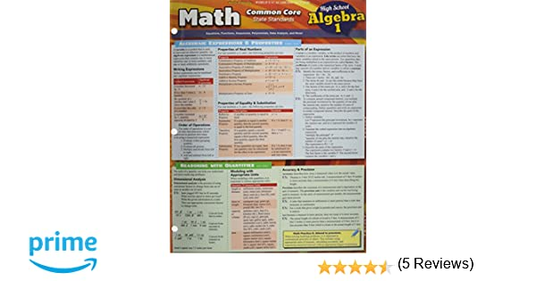 Math Common Core Algebra 1 9Th Grade: Inc. BarCharts ...
