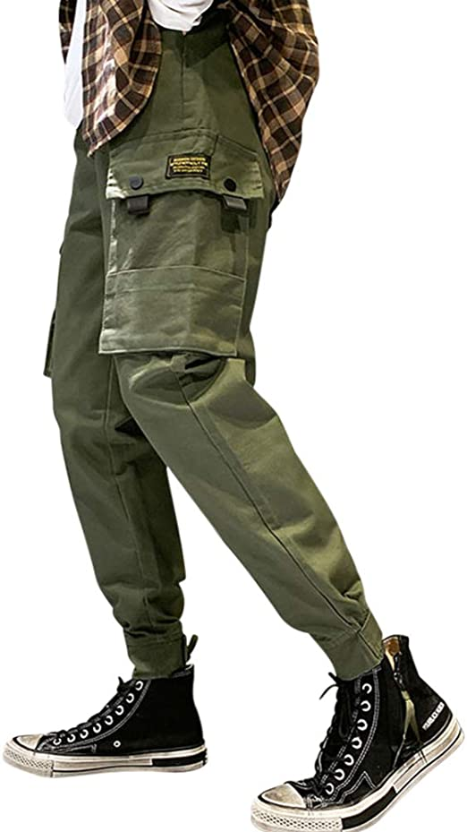 Fashion Outdoor Mens Cotton Blend Loose Hip Hop Cargo Overall Trousers Pants