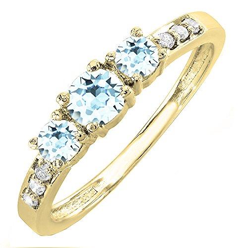 - Dazzlingrock Collection 10K Aquamarine & White Diamond 3 Stone Engagement Bridal Ring, Yellow Gold, Size 10