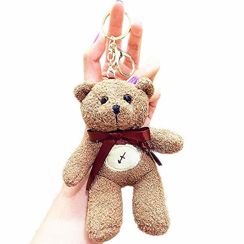 Super Cute Bear Keyring Keychain Plush Stuffed Animal Toy Charm Backpack Clip